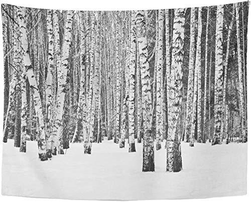 Naturaleza Bosque de abedules en Invierno Tapiz rústico Brillante en Blanco y Negro Decoración para el hogar Colgante de Pared para Sala de Estar Dormitorio Dormitorio 150x200cm/59 * 79pulgadas