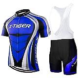 X-TIGER Hombres de Bicicleta con 5D Gel Acolchado MTB Ciclismo Tirantes Culotte Pantalones Cortos Culotes (#8,...