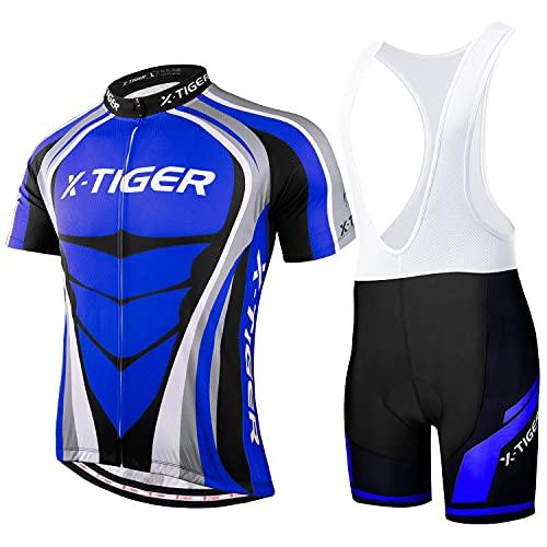 X-TIGER da Ciclismo Uomo 5D Gel Salopette Pantaloncini Corti Imbottiti Set di Abbigliamento Ciclista (Dbt-00503, XL)