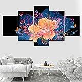 XSHUHANP Impresiones de Pintura Marco 5 Paneles/Set Cuadros Modulares Cuadros Decoración Flores Lienzo Impreso Imágenes para La Sala De Estar Decoración del Hogar Arte De La Pared