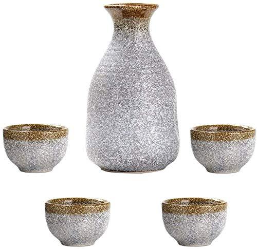5 Stück Sake Set, japanischer Sake Cup Set, Silber Design-Keramik-Cup, Malerisches Textur, for Kalt/Warm/Shochu/Tee, for Familie und Freunde Traditioneller Sake Set Sake-Geschenk