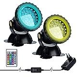Luces Para Estanques con Control Remoto,Lychee LED RGB Proyectores Sumergibles para Exteriores Luces Subacuáticas Ajustables Color, para Estanques Acuario Jardín Piscina Fuente (2PCS)