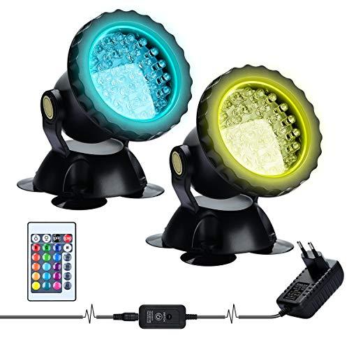 Lychee LED Lighting Gartenteich Lampe RGB Aquarium Licht, Fernbedienung Unterwasser Spot Licht IP68 Wasserdicht für Gartenteich Aquarium Beleuchtung, EU stecker (2 stücke)
