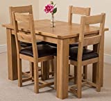 Hampton Extending Oak Dining Table And Chairs Set 4 | 120cm -160cm Extendable Wooden Table And Chairs | 4ft Small Oak Dining Set With 4 Brown Lincoln Leather Chairs by Oak Furniture King