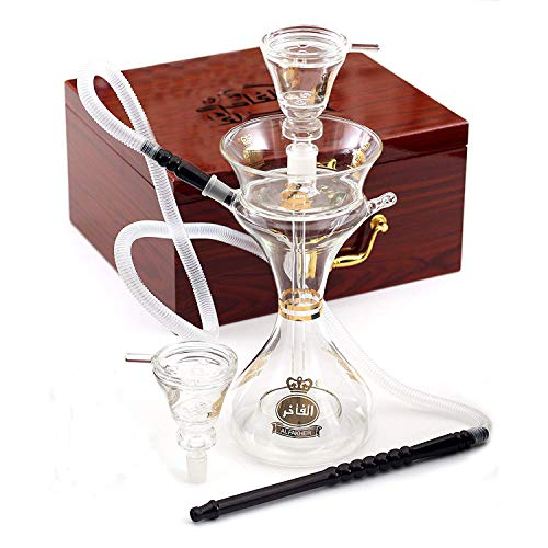 Premium Latest Original Glass 15 Inches Hookah by Al Fakher, in Wooden Case.