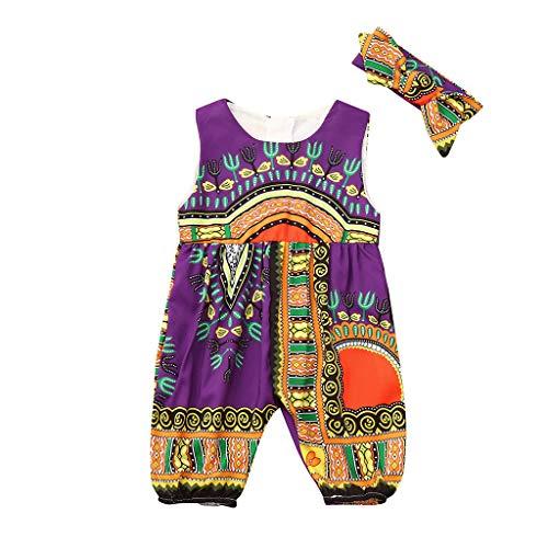 Alwayswin Kleinkind Kinder Baby Mädchen Böhmisches Outfits Kleidung Set afrikanischen Print Ärmellose Strampler Overall Ethnischer Stil mit Zweiteiligem Taschenoverall + Haarband