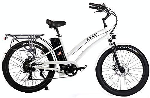 """SOHOO 48V500W13Ah 26"""" Adult Step-Thru Beach Cruiser Electric Bicycle City E-Bike Mountain Bike (White)"""