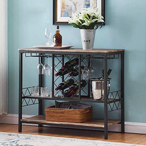 Wakects Botellero de vino de madera MDF + hierro, estantería botellero de 3 niveles, con estantes abiertos para vino, agua, champán, 39,7 x 105 x 88,5 cm
