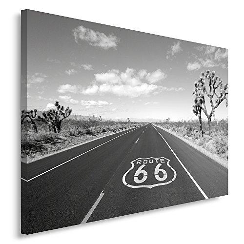 Feeby Frames, Cuadro en Lienzo, Cuadro impresión, Cuadro decoración, Canvas 60x80 cm, Ruta 66, Blanco Y Negro