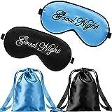 2 Piezas Máscaras de Seda de Dormir Cubierta de Ojos Máscara de Viseras Ajustables Ligeras Antifaz de Dormir de Ojos de Satín de Noche con 2 Bolsas de Almacenamiento (Azul, Negro)