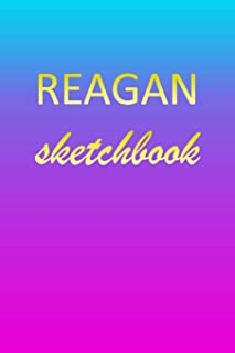 Reagan: Sketchbook | Blank Imaginative Sketch Book Paper | Pink Blue Gold Custom Letter R Personalized Cover | Teach & Practice Drawing for Experienced & Aspiring Artists & Illustrators | Creative Sketching Doodle Pad | Create, Imagine & Learn to Draw