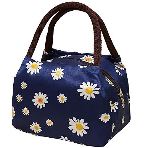 女性用ランチバッグ インスタントランチバッグ Lサイズ トートバッグ 女性と男性 オフィス 学校 ピクニック ショルダーストラップなし ダークブルーの背景 菊