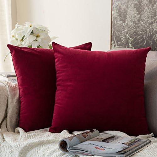 Best MIULEE Pack of 2, Velvet Soft Soild Decorative Square Throw Pillow Covers Set Cushion Cases Pillowca