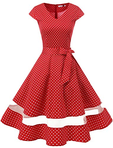 Gardenwed 1950er Vintage Retro Rockabilly Kleider Petticoat Faltenrock Cocktail Festliche Kleider Cap Sleeves Abendkleid Hochzeitkleid Red Small White Dot 2XL