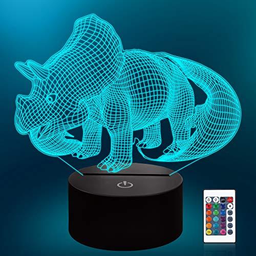 Lámpara Dinosaurio 3d, CooPark mundo Jurasico frio LED Óptico Holograma Luz de noche 16 colores cambian con control remoto, decoración de la habitación de los niños Regalos creativos para niños niñas