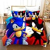XWXBB Sonic Anime - Juego de ropa de cama para niños, funda de edredón y funda de almohada, microfibra, impresión digital 3D (SNK5, 135 x 200 cm), A02, 135 x 200 cm