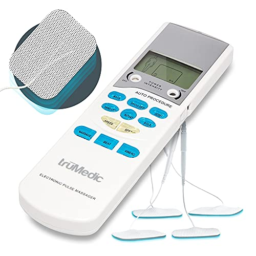 pads for muscles TruMedic TENS Electronic Pulse Unit & 4 Electrode Pads - For Muscle Stiffness, Soreness, Aches & Pains, Perfect for Relaxing Tight Muscles & Nerves for Electrotherapy Pain Management (PL-009)
