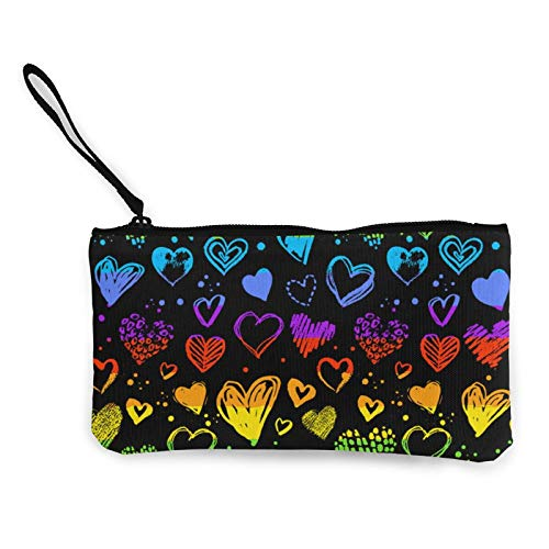 Moneda de lona, San Valentín Grunge Corazones, bolsa de cosméticos de viaje con cremallera, bolsa de maquillaje multifunción para teléfono móvil, bolsa de lápices con asa