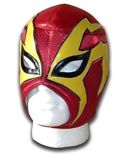 Shoker red/yellow adult mexican luchador Wrestling mask by WRESTLING MASKS UK