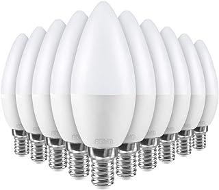 Lot de 10 ampoules E14 5.5W eq 40W Forme bougie 450 Lumens (Blanc Naturel)
