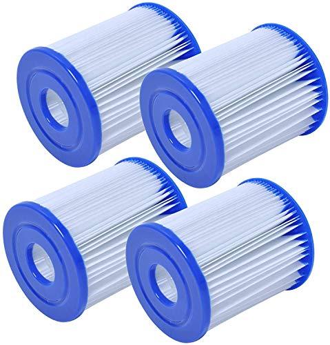 Poweka Cartucho de Filtro de Piscina Compatible con Bestway Tipo I, Cartuchos de Filtro para Piscina o Jacuzzi Inflable, Filtros de Agua para Depuradora de Cartucho (4 Piezas)