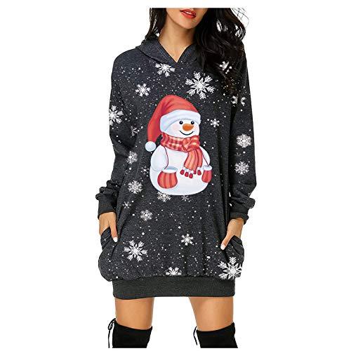 VJGOAL Robe Noel Femme Hiver Robe Sweat A Capuche Mignon Imprimer De Noël Robe Pull Femme Manche Longue Casual Sweatshirt Long Hoodie Sweat Décontracté Chic Automne Hiver avec Poche Pullover S-3XL