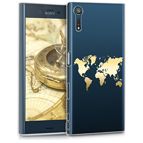 kwmobile Sony Xperia XZ/XZs Hülle - Handyhülle für Sony Xperia XZ/XZs - Handy Case in Travel Umriss Design Gold Transparent