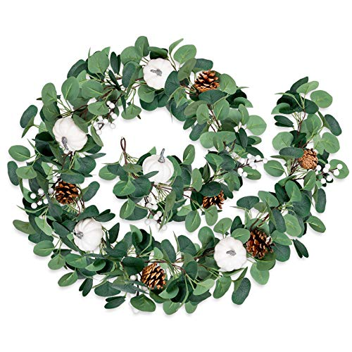 Whaline Autumn White Pumpkin Garland 6.23Ft Fall Artificial Eucalyptus Garland with 2 Hooks Pine Cone Fake Green Leaves Greenery Hanging Decoration for Wedding Backdrop Door Table Decor