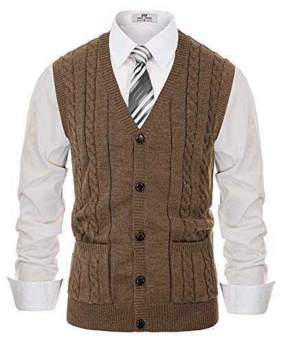 PJ PAUL JONES Men's Aran Sweater Vest V-Neck Button-Front Sweater Knitwear Vest Coffee, L