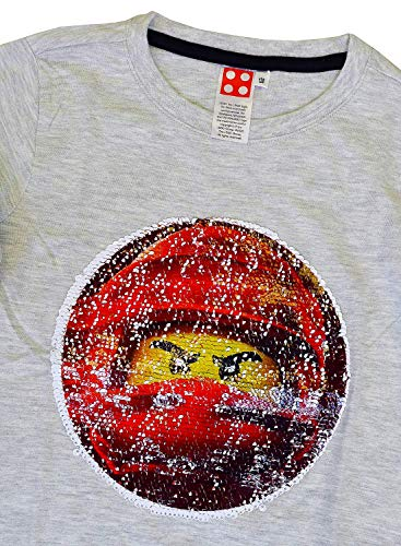 Boys Ninjago Lego 2 Way Sequin Swipe Long Sleeve T-Shirt Top Red Sizes from 6 to 8 Years