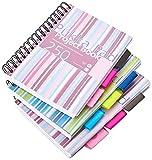 Pukka Pad Ref PROBA5 - Cuaderno de espiral doble de tapa dura (3 unidades, A5, 250 hojas microperforadas, 80 g/m², raya de 8 mm, incluye 3 separadores), diseño de rayas, multicolor