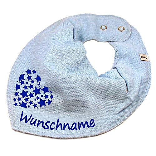 Elefantasie Elefantasie HALSTUCH Herz Sterne mit Namen oder Text personalisiert hellblau für Baby oder Kind