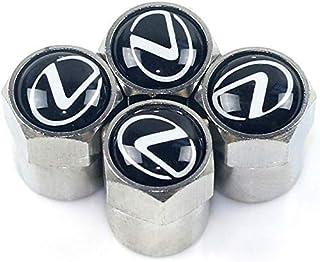 VIQILANY 4pcs /set Silver Zinc Alloy Chrome Car Wheel Tire Air Valve Caps Stems For Lexus