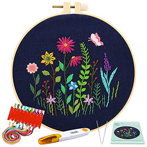 Caydo Full Range Embroidery Starter Kit with Pattern and Instructions, Embroidery Clothes with Floral Pattern, Plastic Embroidery Hoops, Color Threads and Tools