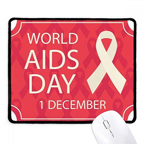 DIYthinker wereld aids dag rood lint hiv anti-slip muismat spel office zwart teef randen gift