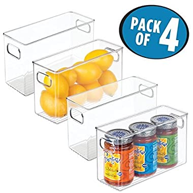 mDesign Refrigerator, Freezer, Pantry Cabinet Organizer Bins for Kitchen - Pack of 4, 10  x 4  x 6 , Clear