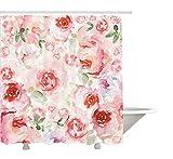 yeuss acuarela flor Decor Collection, suave de color p¨lido Faded mezcla de rosas estilo vintage rom¨ntico sue?o pintura, tela de cortina de ducha de ba?o Set con ganchos, rosa verde 72'x 72'