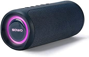 Loud Bluetooth Speaker with Power Bank, IPX7 Waterproof Portable Speaker with Subwoofer, 35W Bass and Wireless Stereo Pairing, 24H Playtime, LED Lights Show for Outdoor Party, Camping - Blue