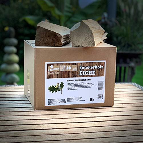 Landree® BBQ Smokerholz Eiche (ohne Rinde) 4KG für Smoker, Räucherofen, Kugelgrill - aus Schleswig-Holstein