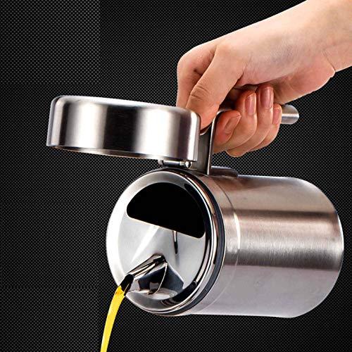 N-B Aceitera de acero inoxidable 304, gruesa, a prueba de fugas, a prueba de polvo, con tapa, para el hogar, utensilios de cocina creativos, gran capacidad