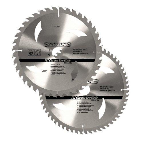 Silverline 803634 Hartmetall-Kreissägeblätter mit 40 und 60 Zähnen, 2er-Pckg. 300 x 30, Reduzierstücke: 25, 20 u. 16 mm
