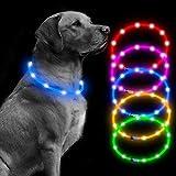 Collare per cani con luce LED ricaricabile tramite USB, collare luminoso per cani, collari per cani che tengono i vostri cani a essere visti e siate sicuri regolabili taglia lampeggiante (blu)