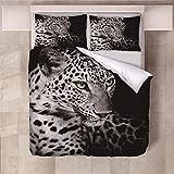 Generic Branded 3D Ropa de Cama 3 Piezas Juego de Ropa de Cama con 140x200cm Funda de Edredón de Microfibra de 2 x 50x75cm Funda de Almohada Polyester Diseño de Impresión - Leopardo Animal