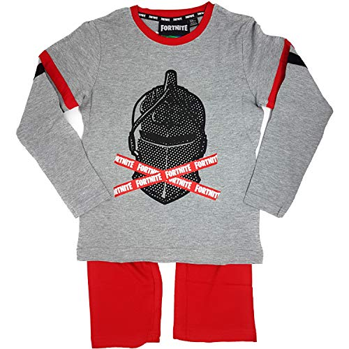 Fortnite Schlafanzug Langer Pyjama Jungen (Grau-Rot, 164)
