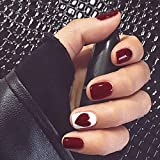 Yalice Glossy Press on Nails Red Short Fake Nails Heart Square Full Cover False Nails for Women and Girls 24Pcs