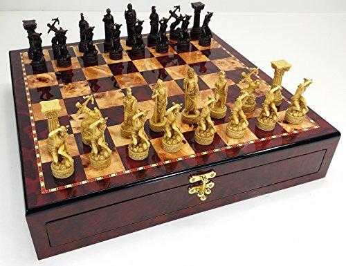 Greek Roman Mythology Gods Chess Set W/ High Gloss Cherry & Burlwood Color Storage Board 17'
