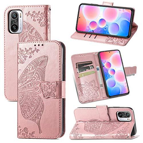 JIUNINE Funda para Xiaomi Redmi Note 10 Pro 4G, Antigolpes Carcasa Libro con Tapa en Cuero Flip Case Cover con Dibujos de Mariposa, Cierre Magnético para Redmi Note 10 Pro 4G, Oro Rosa