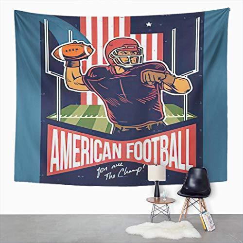 Y·JIANG Tapiz retro, diseño de jugador de fútbol americano lanzando la pelota para el hogar, dormitorio grande, manta ancha para colgar en la pared para sala de estar, dormitorio, 80 x 60 pulgadas