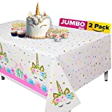 """Extra-Large 2 Packs Unicorn Tablecloth, Unicorn Table Cloth for Birthday Party, 108""""x54"""" Disposable Table Cover, Ideal Party Supplies for Unicorn Themed Baby Shower and Birthday Decoration for Girls"""