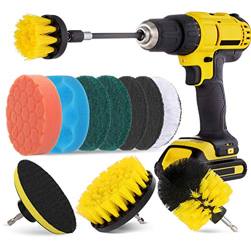 HIWARE 12 Pcs Drill Brush Attachment Set for Cleaning - Power Scrubber Drill Brush Pad Sponge Kit with Extend Attachment for Bathroom, Car, Grout, Carpet, Floor, Tub, Shower, Tile, Corners, Kitchen